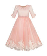 Flower Girl Dress Half Sleeve Lace Wedding Party Pageant 2018 Summer Pri... - $43.69