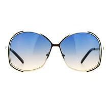 Womens Designer Fashion Sunglasses Oversized Metal Frame Gradient Lens - $10.75