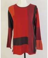 CFR Christian Francis Roth Color Block Long Sleeve Crew Neck Sweater Top... - $27.58