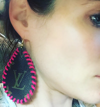 Hot Pink Tear Drop Earrings made from Authentic Bucket Bag - $45.00
