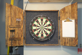 Dartboard Cabinet Dart Board Solid Rustic Wood Set Dart Scoreboard Game ... - $386.04