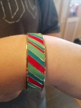 Liz Claiborne bracelet gold tone with red/blue/green thick bangle  - $10.88