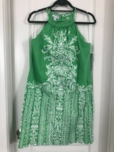London Times Halter Shift Dress Green & White Paisley Floral Women's Sz 10 - $24.75