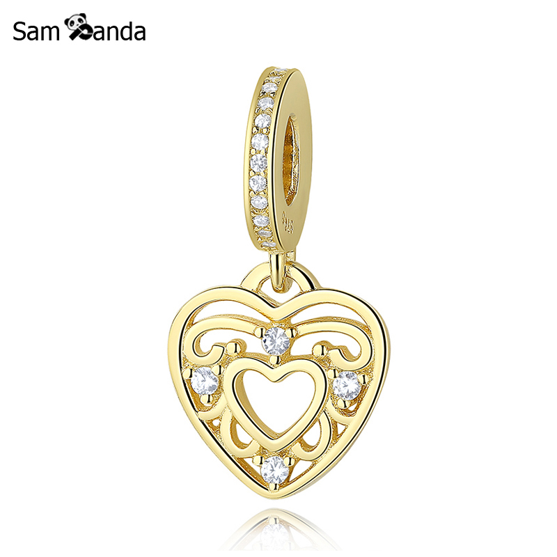 Primary image for Buy Authentic 100% 925 Sterling Silver Bead Charm Romantic Heart Dangle Charms