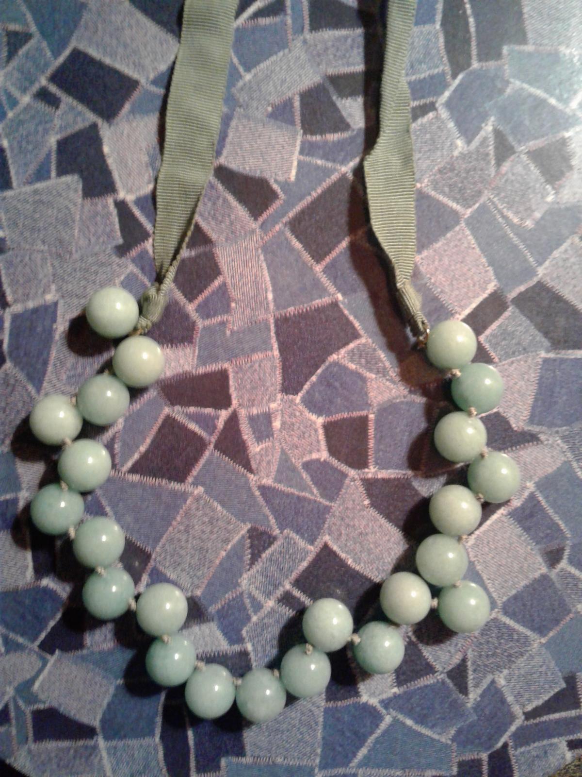 J Crew Necklace , Mint Green Glass Ball , Ribbon Tie