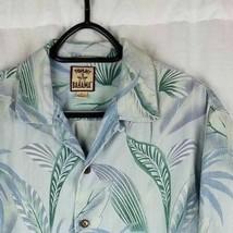 TOMMY BAHAMA 100% Silk Shirt Medium Cruise Tropical Palm Fronds - $23.75