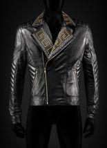Men's Handmade Real Leather studded fashion jacket men biker jacket custom made. - $229.99