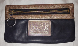 Coach Poppy Josie Clutch black licorice & gold metallic leather pouch 42856 - $28.00