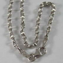 18K WHITE GOLD CHAIN NECKLACE SAILOR'S OVAL NAVY LINK 19.69 IN. MADE IN ITALY image 2