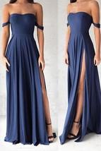 Off the Shoulder Split Side Long Prom Dress Bridesmaid Dresses - $99.99+