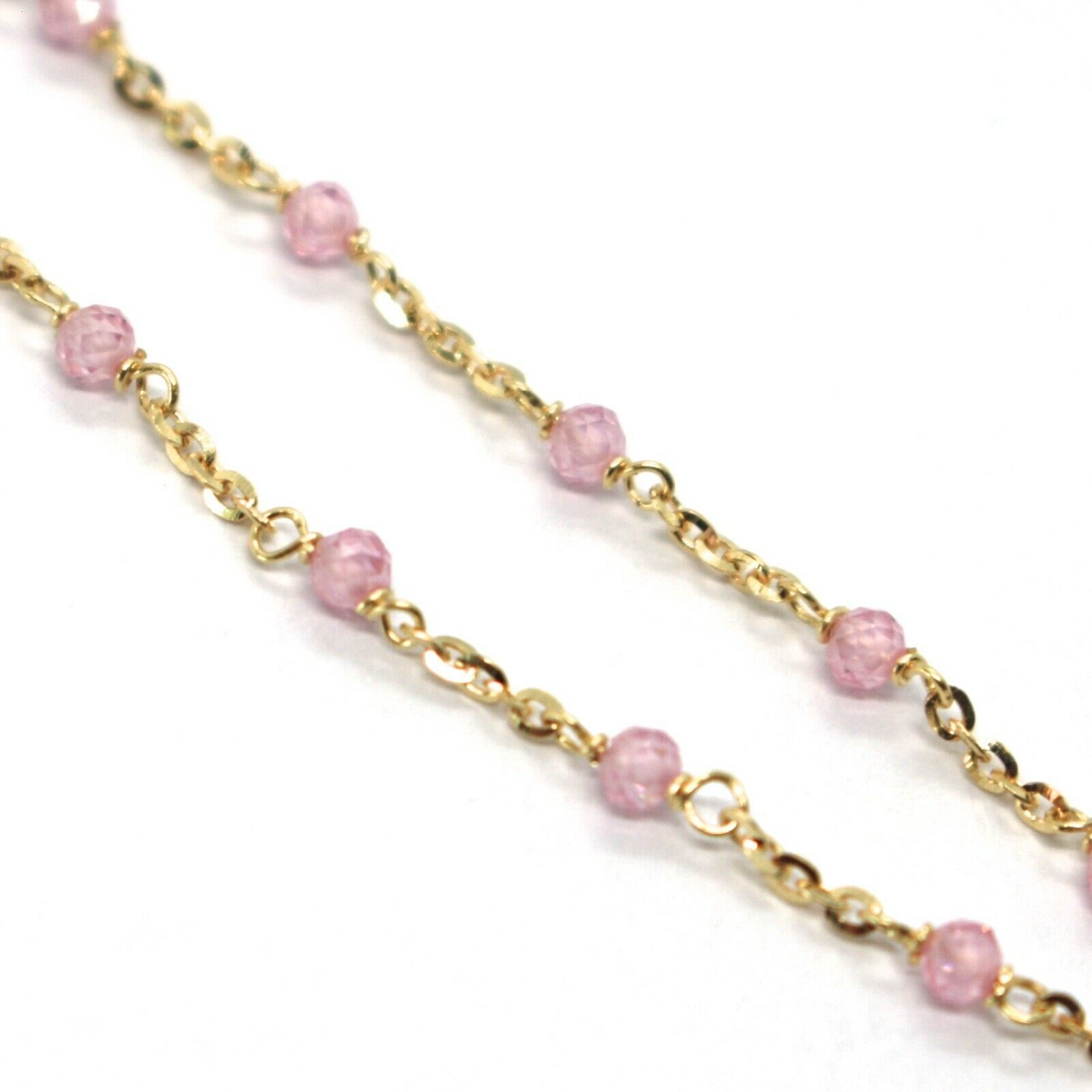 18K YELLOW GOLD BRACELET, PINK FACETED CUBIC ZIRCONIA, ROLO CHAIN, 6.9 INCHES