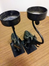 Bronze Elephant with Sparkling Blanket Candle Holder Bronze/Black tones  image 2