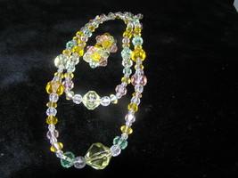 Vintage DEMI Pastel Orange Pink Green Faceted Plastic Multistrand Necklace - $20.57