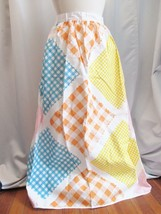 Vintage Maxi Apron Gingham Pink Blue Yellow Orange Full-Length Large Ret... - $19.30