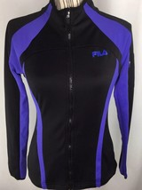 Fila Women Small Full Zip Jacket Black Purple Arm Pocket Zipper Pockets - $18.69