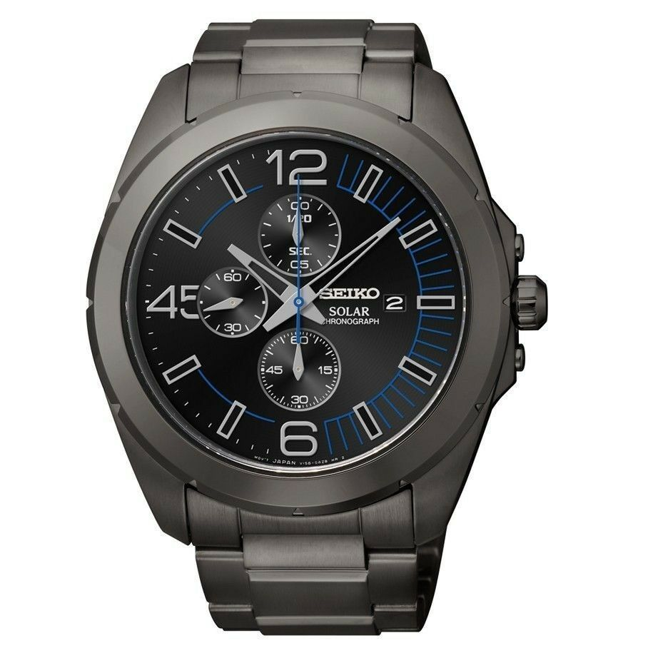 Seiko Solar SSC203 Chronograph Mens Black Ion-Plate Stainless Steel Date Watch  - $164.34