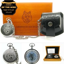 WOLF Silver Pocket Watch Gift Set Large 53mm Brass Case Chain Pouch Wood... - €104,14 EUR