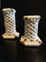 """Set of 2 Hand Made Macrame Hippie Candle Holders ~ 5"""" and 4"""" tall 1970's... - $19.75"""