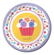 "Sweet Cupcake Birthday Party Plates Dessert 7"" - $2.84"