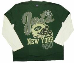 New York Jets Shirt Men's NFL Football 2-Minute Drill Layered Long Sleeve Tee