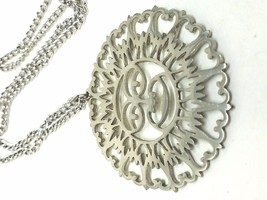 Reed Barton Pewter Vintage Sun Pendant Necklace - $20.39