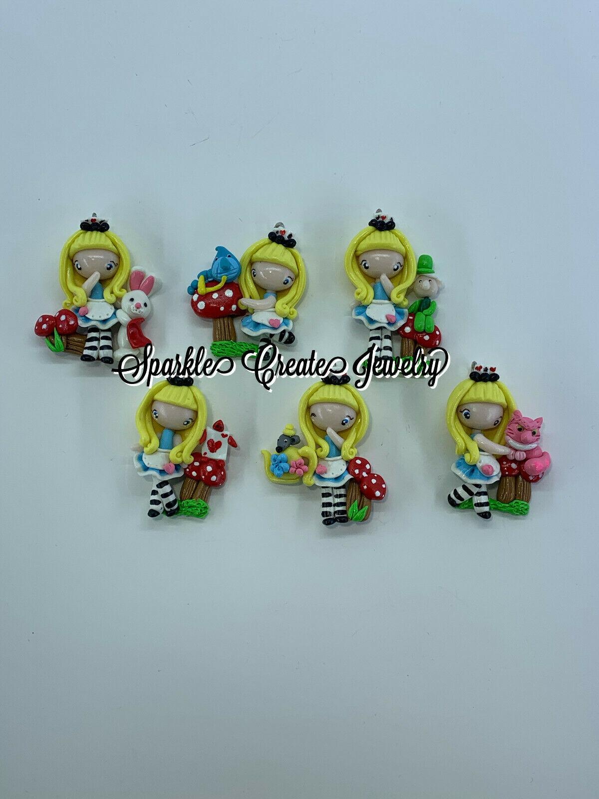 Alice in Wonderland Clay Pendant