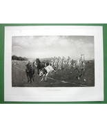 HUSSARS Soldier Troops Ride on Horses - 1893 Victorian Era Antique Print - $20.21