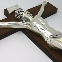 WALL CRUCIFIX, WOOD, SILVER CHRIST SMOOTH AND SATIN, 10 INCHES, MADE IN ITALY image 3