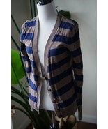 Old Navy Cardigan Cotton Blend Sweater Brown Blue stripes Sz Large - $14.25