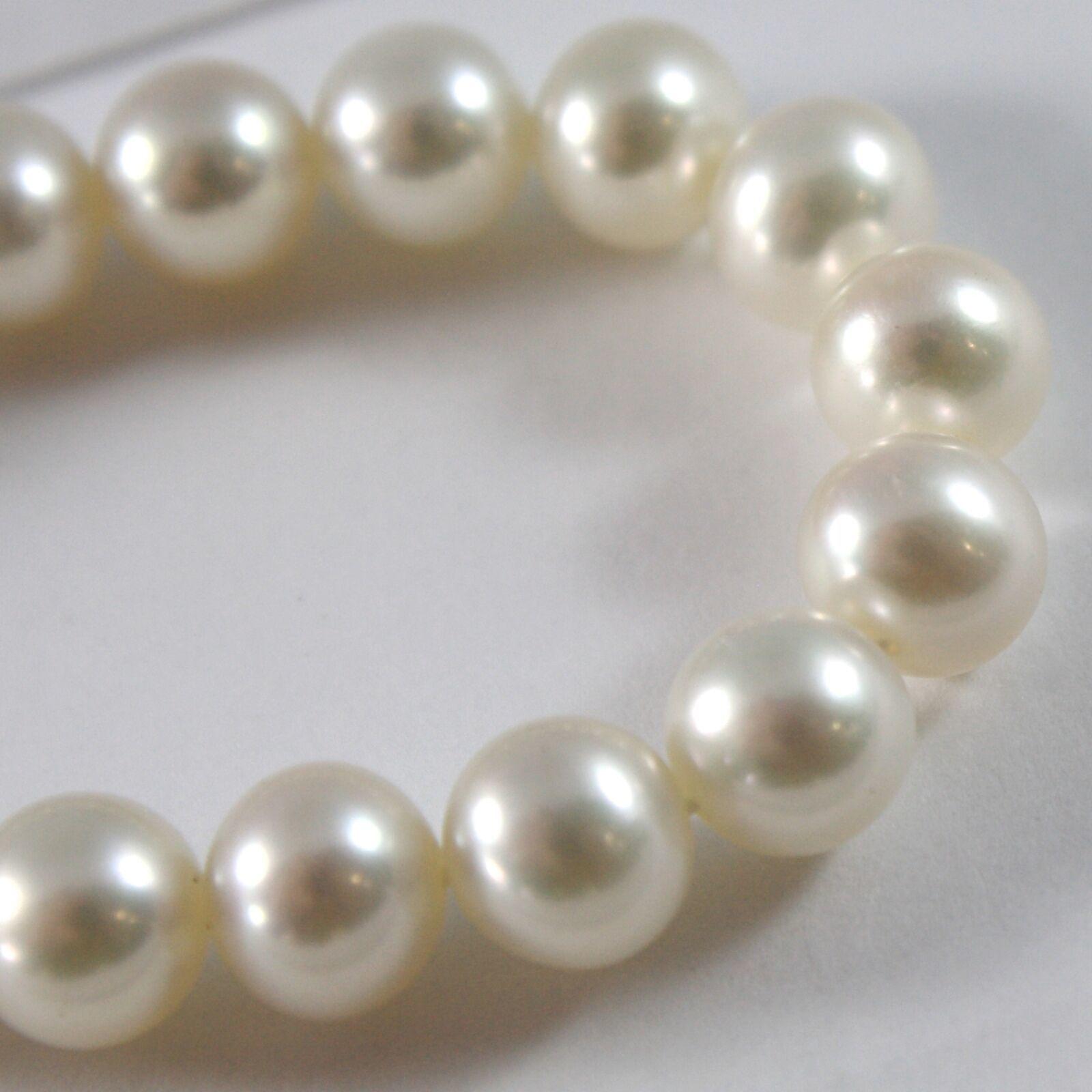 Pulsera Oro Blanco 750 18 CT, Collar de Perlas Blancas Diámetro 8mm, Largo 19 CM