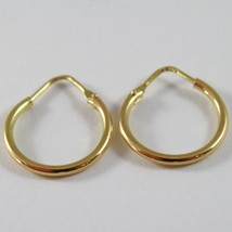 18K YELLOW GOLD ROUND CIRCLE EARRINGS DIAMETER 13 MM WIDTH 1.7 MM, MADE IN ITALY image 2
