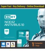 ESET NOD32 AntiVirus 2018, 1 PC -1 Year -Windows & Mac - Key Online Deli... - $10.13 CAD