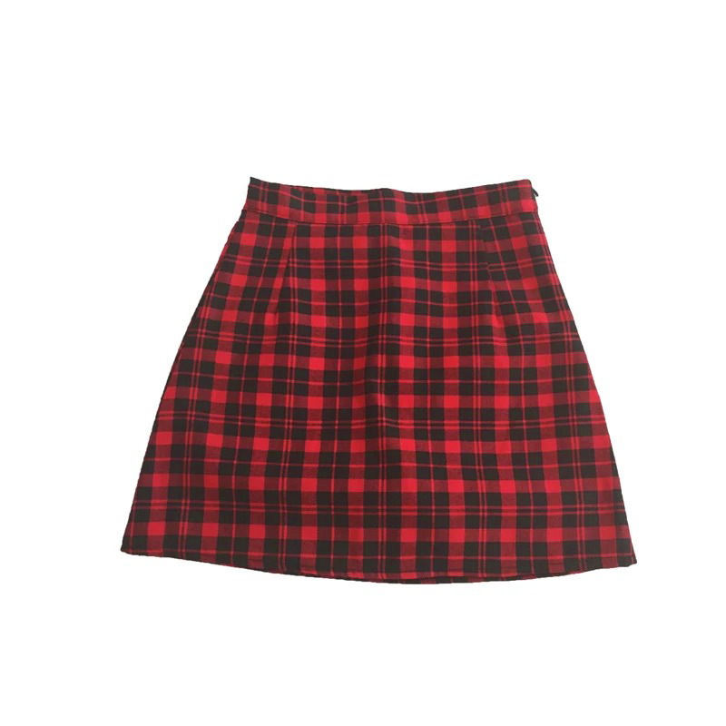 Aline Red Plaid Skirt-Women Girl Plaid Skirt-School Red Black Plaid Skirt,petite