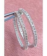 """1.05ctw Brilliant Diamond 18k White Gold Inside Out 1-1/16"""" Hoop Earring... - $1,484.01"""