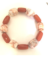 natural brown stone bracelet beaded acrylic marble gemstone handmade boho - $6.99
