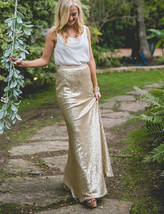 Gold Sequined Maxi Skirt High Waist Full Sequined Wedding Bridesmaid Maxi Skirts image 14