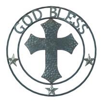 "*18363B  Galvanized 24"" Round Cross God Bless Art Sclupture Wall Decor - $29.65"