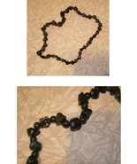 Stone Necklace Costume Jewelry Shades Of Green w some brown & purple - $18.99