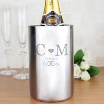 PERSONALISED Monogram Wine Cooler : Stainless Steal : Add Initials & Dat... - $36.83