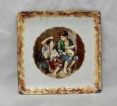 Antique Enamel on Metal Tray Pheasant Boys eating Fruit - $24.75
