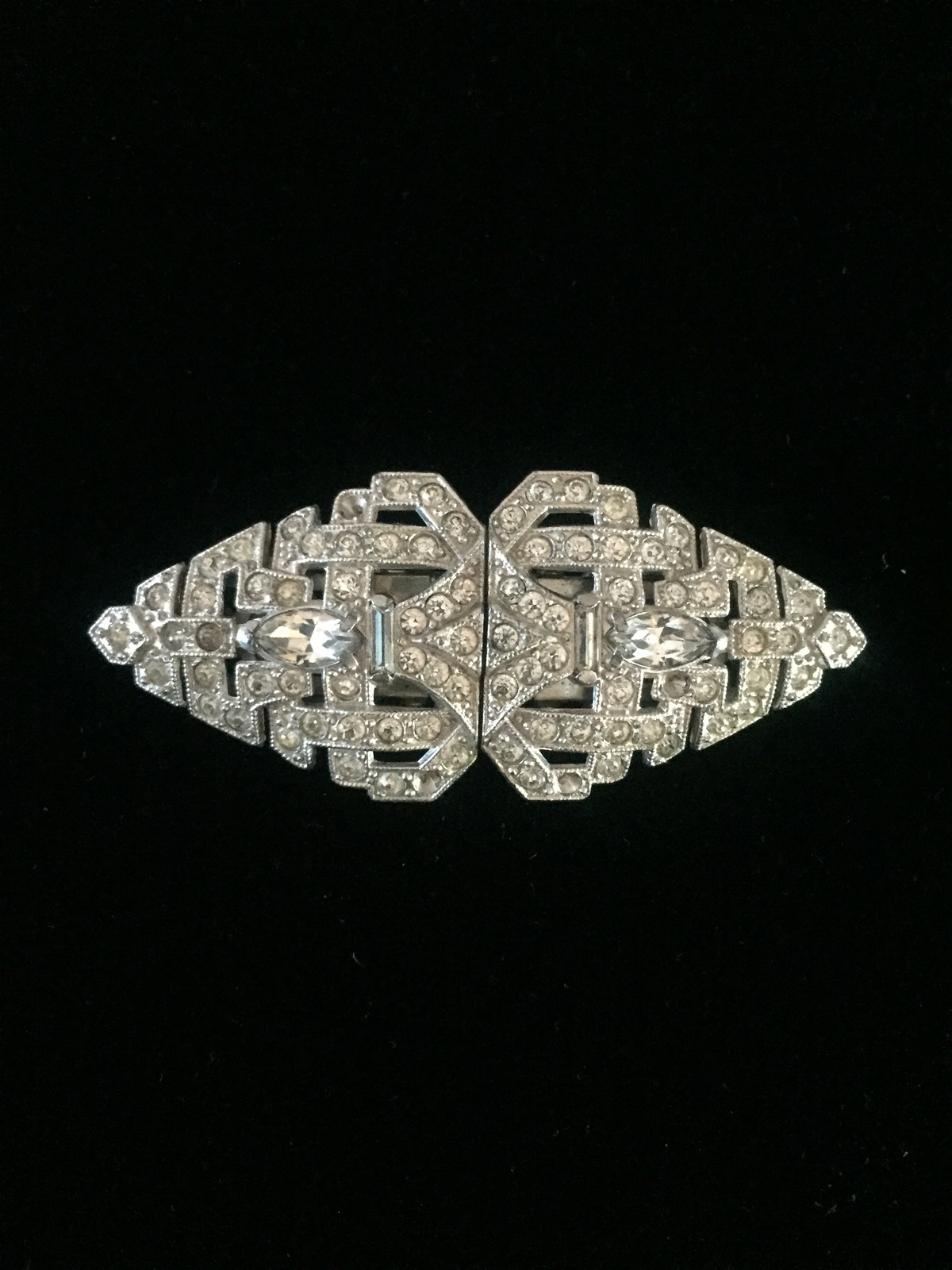 Vintage 30s Art Deco rhinestone duette (brooch and fur clips)