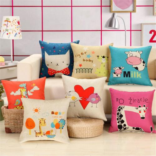 Cute Animal Style Cushion Cover Cotton Linen Baby Pillowcase Home Decor 45*45cm - $4.48