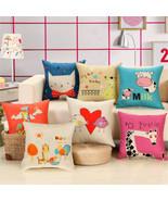 Cute Animal Style Cushion Cover Cotton Linen Baby Pillowcase Home Decor ... - $4.48