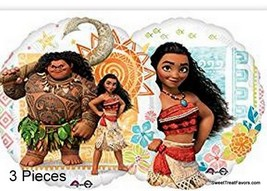 Moana Double Sided Luau Party BALLOONS Birthday Mylar Decoration Foil 3P... - $12.85