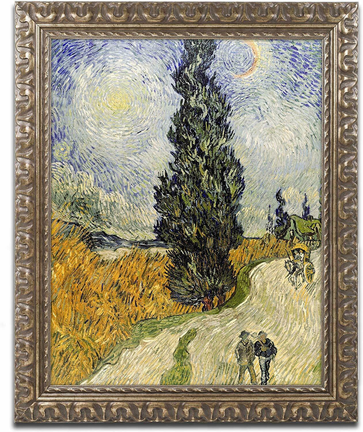 Primary image for Road with Cypresses Canvas Art, Vincent van Gogh, 11 X 14 Inch Gold Ornate Frame