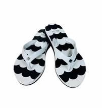 New Size 9 KATE SPADE Milli Flip Flop Sandals White Black Silver Spade - $40.00