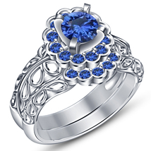 Blue Sapphire White Gold Plated 925 Silver Engagement Wedding Bridal Ring Set - $88.99