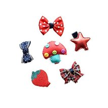 Set of 6 Cute Soft Cloth Hair Clip Set Red Hair Barrettes Small Bow Clips