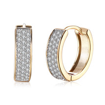 """Fashion Womens Yellow Gold Filled Clear Crystal """"U"""" Hoop Earring Jewelry - $12.73"""
