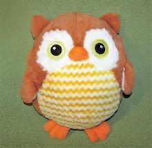 """Goffa Brown Owl Pillow Plush Stuffed Animal Sparkly Eyes Yellow Stripes 12"""" Toy - $20.79"""